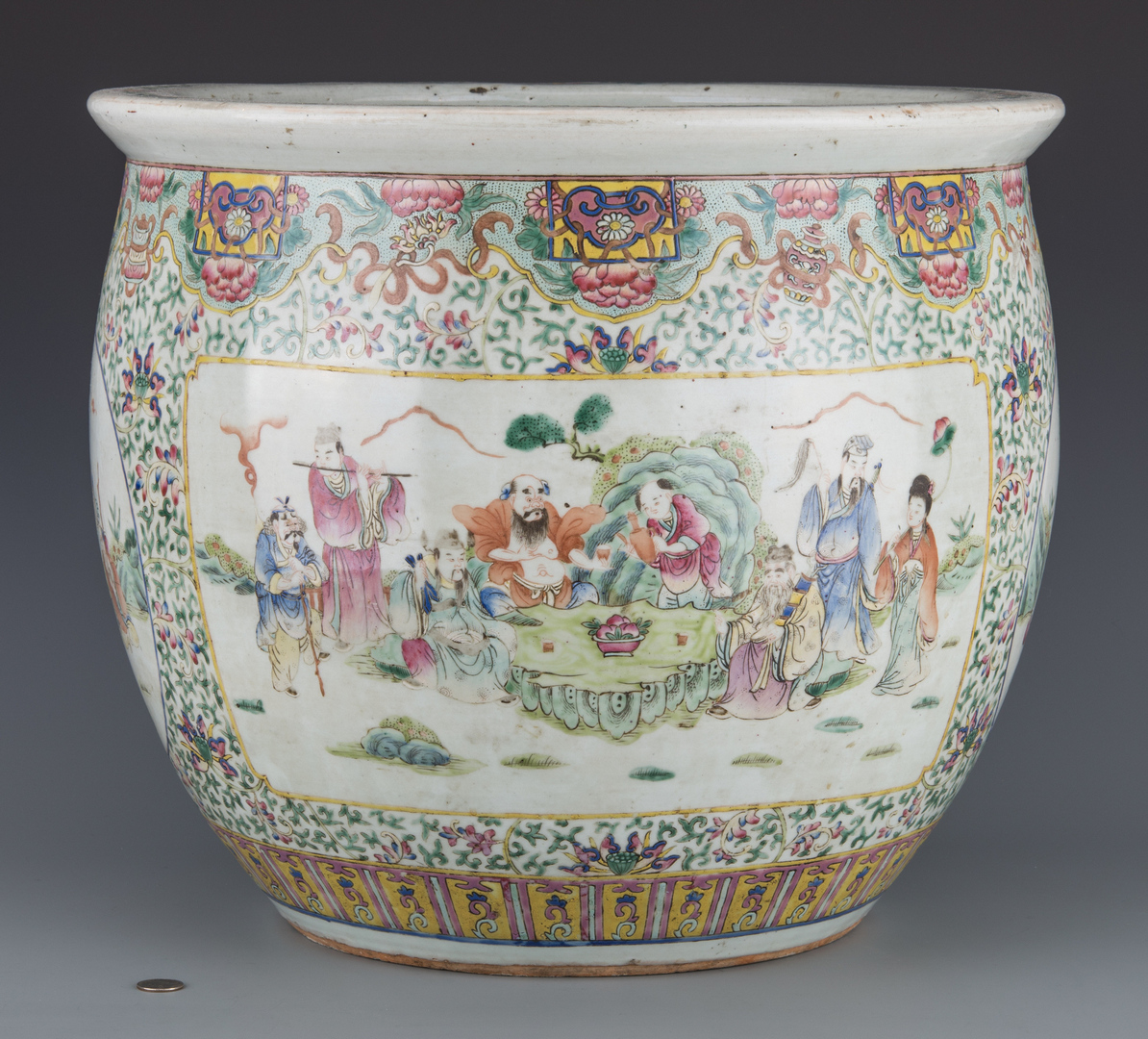 Lot 22 Famille Rose Porcelain Fish Bowl Republic Period