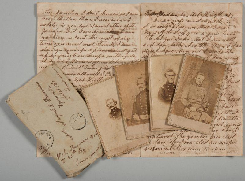 Lot 230: Civil War era Letter and 4 CDVs, incl. Confederate Generals