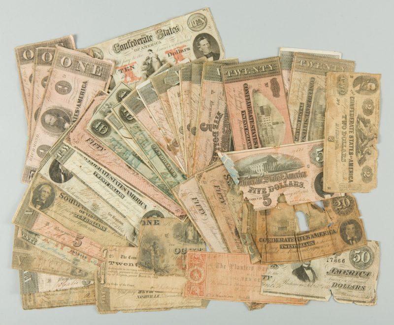 Lot 231: 36 Southern Pre Civil War and CSA Bills