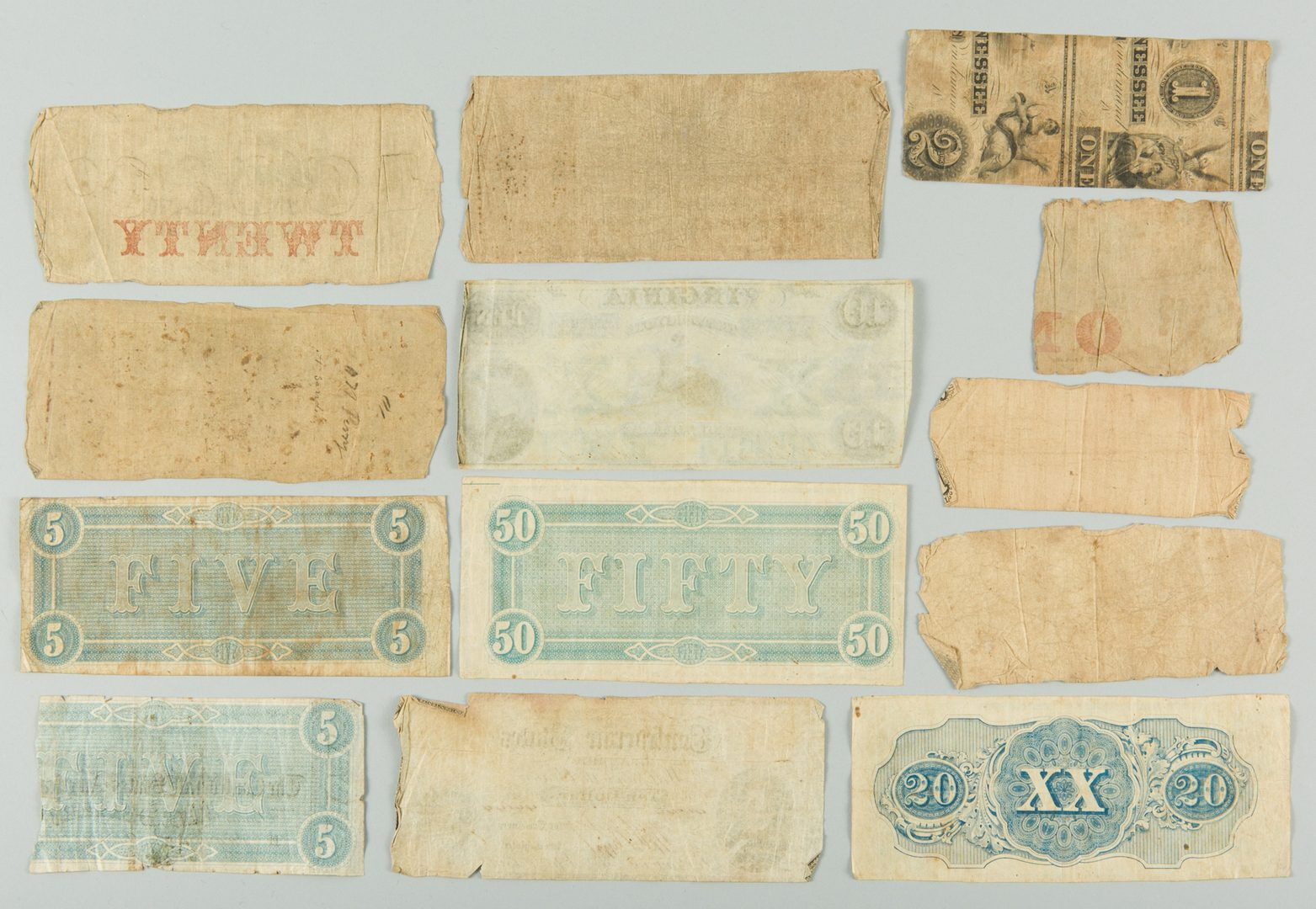 Lot 231: 36 Southern Pre Civil War and CSA Bills