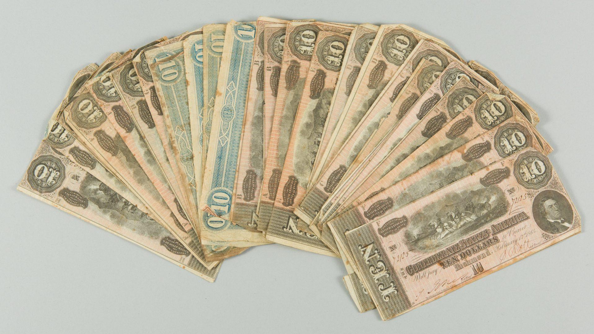 Lot 232: 32 Confederate States of America (CSA) Ten Dollar Bills