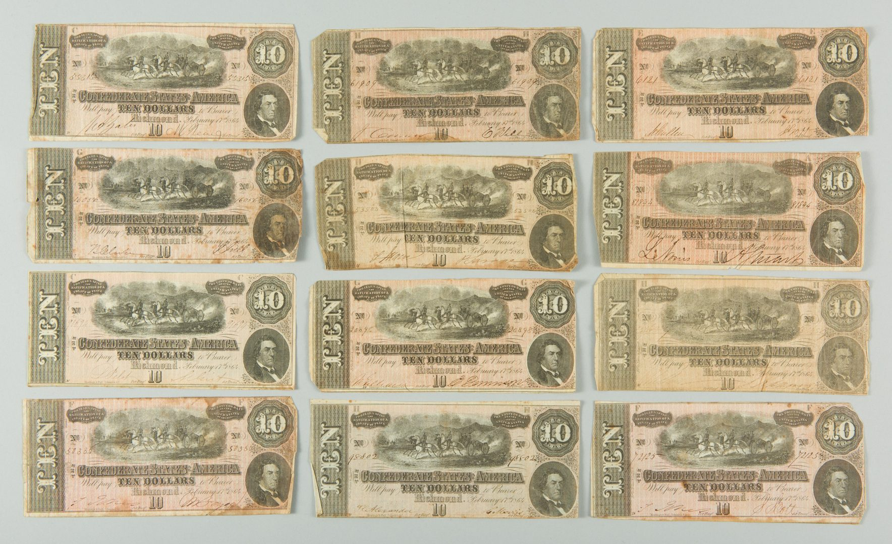 Lot 232: 32 Confederate States of America (CSA) Ten Dollar Bills