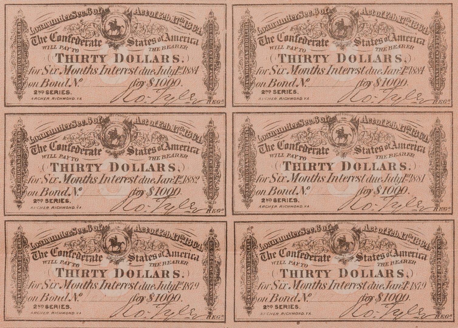 Lot 233: 3 Sheets Confederate Bonds