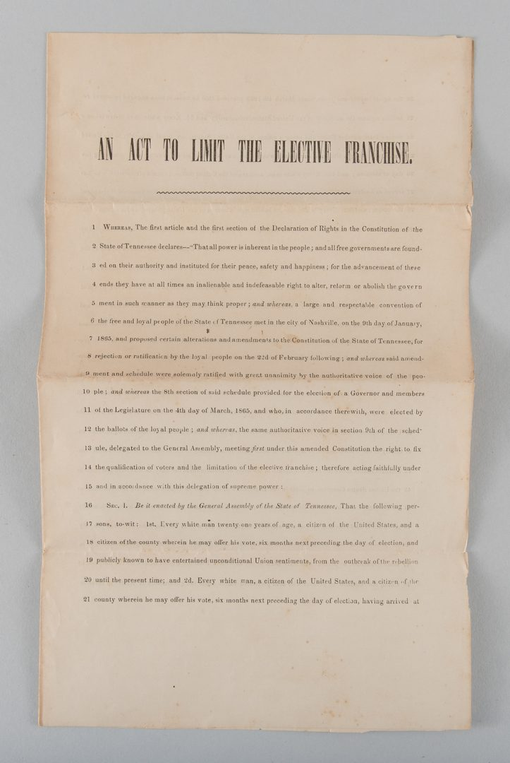 Lot 234: TN Civil War Broadside, Pamphlet, Letter