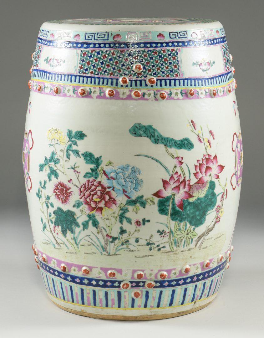 Lot 23: Famille Rose Porcelain Garden Seat