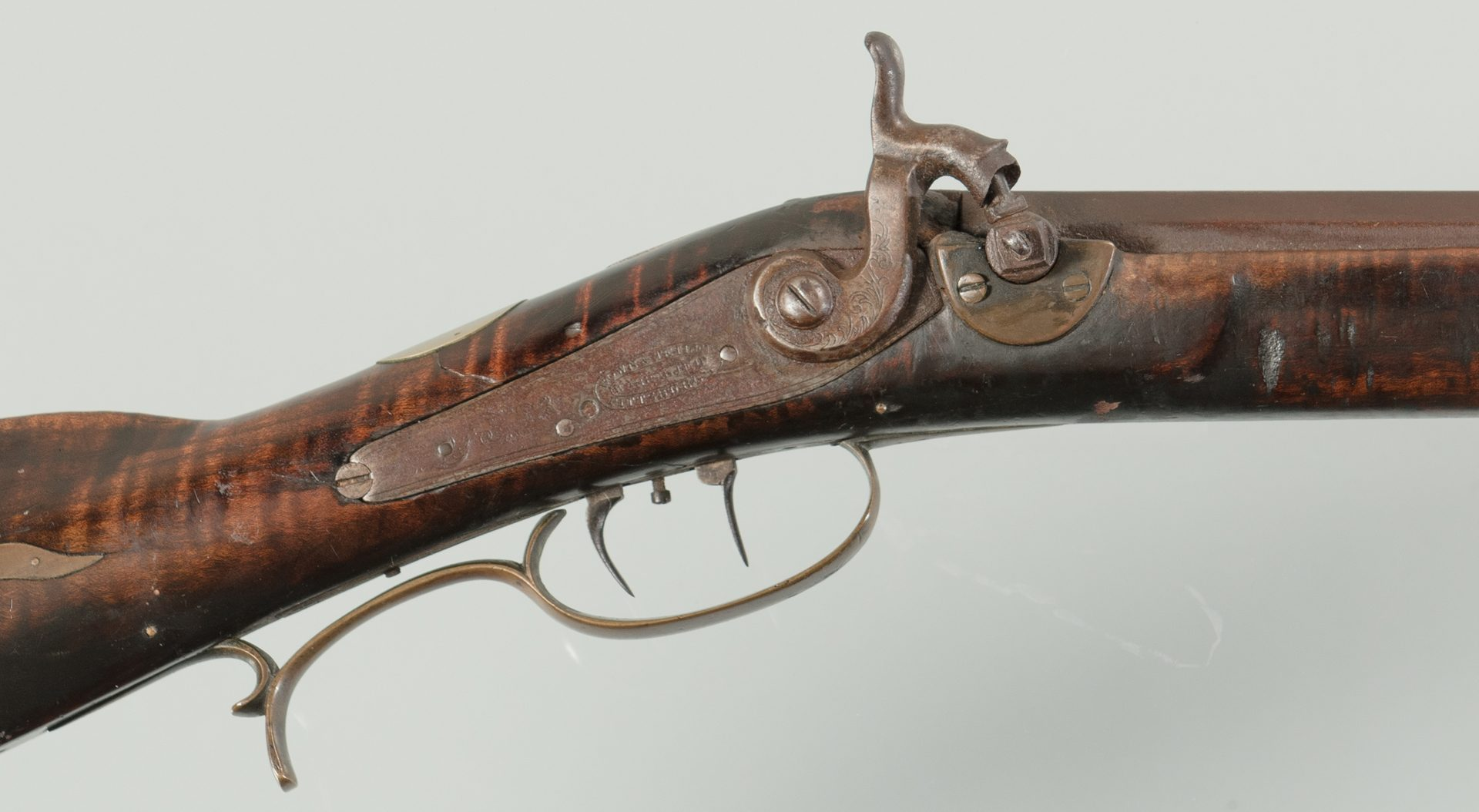Lot 242: J M Burns Marked Long Rifle, .30 Cal.