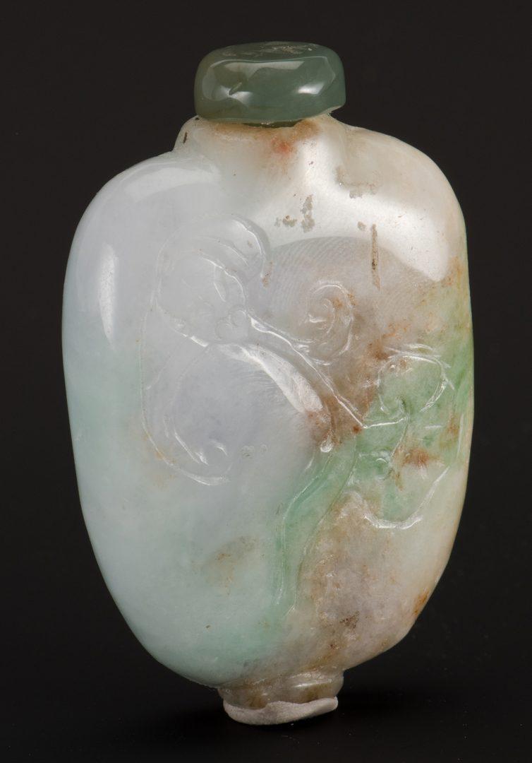 Lot 246: Green, White, Lavender Jade Snuff Bottle