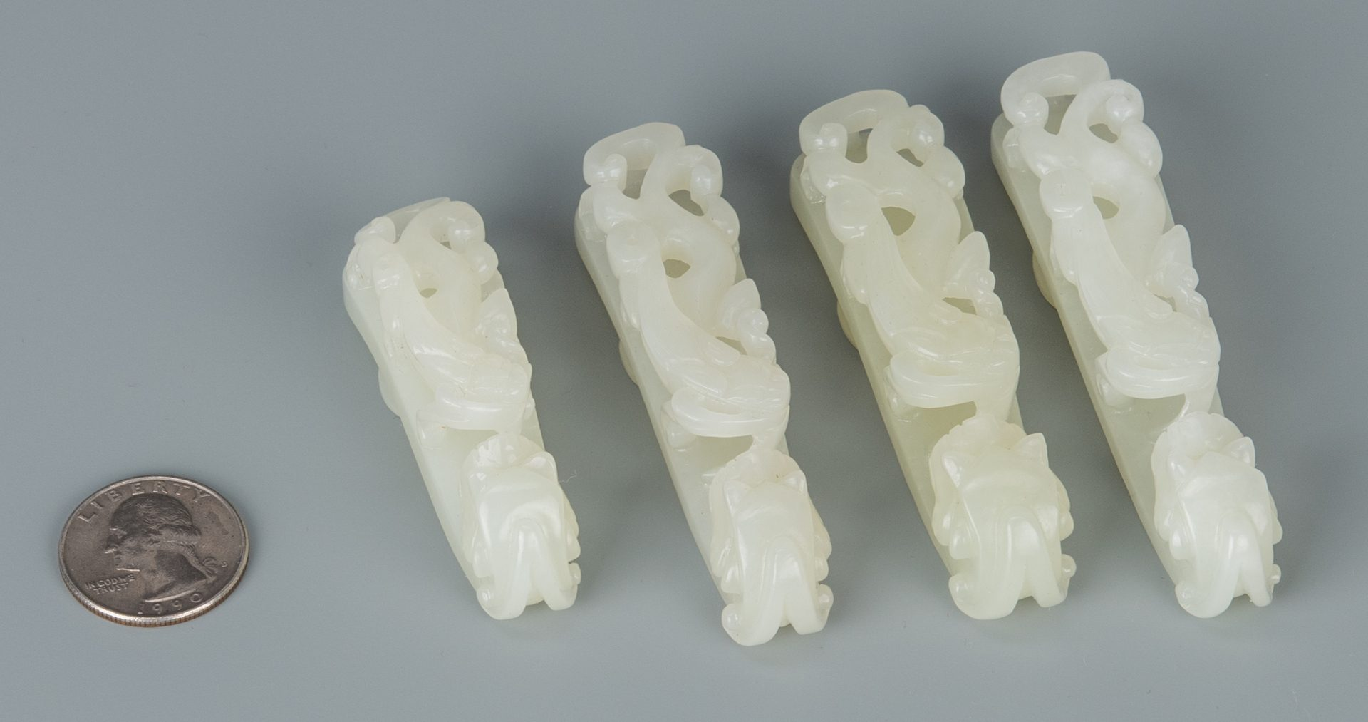 Lot 247: 4 Chinese Dragon Jade Buckles
