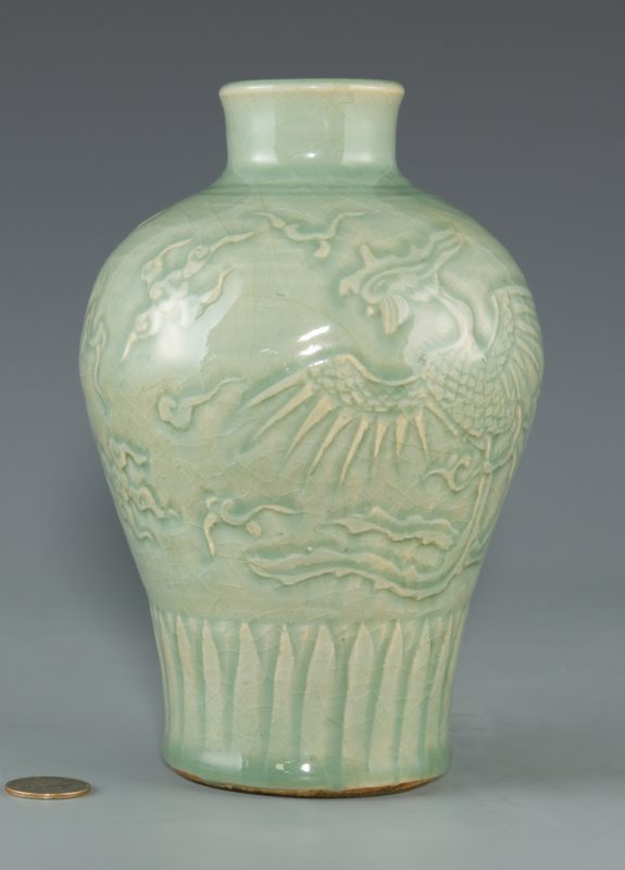 Lot 24: Longquan Celadon Carved Vase