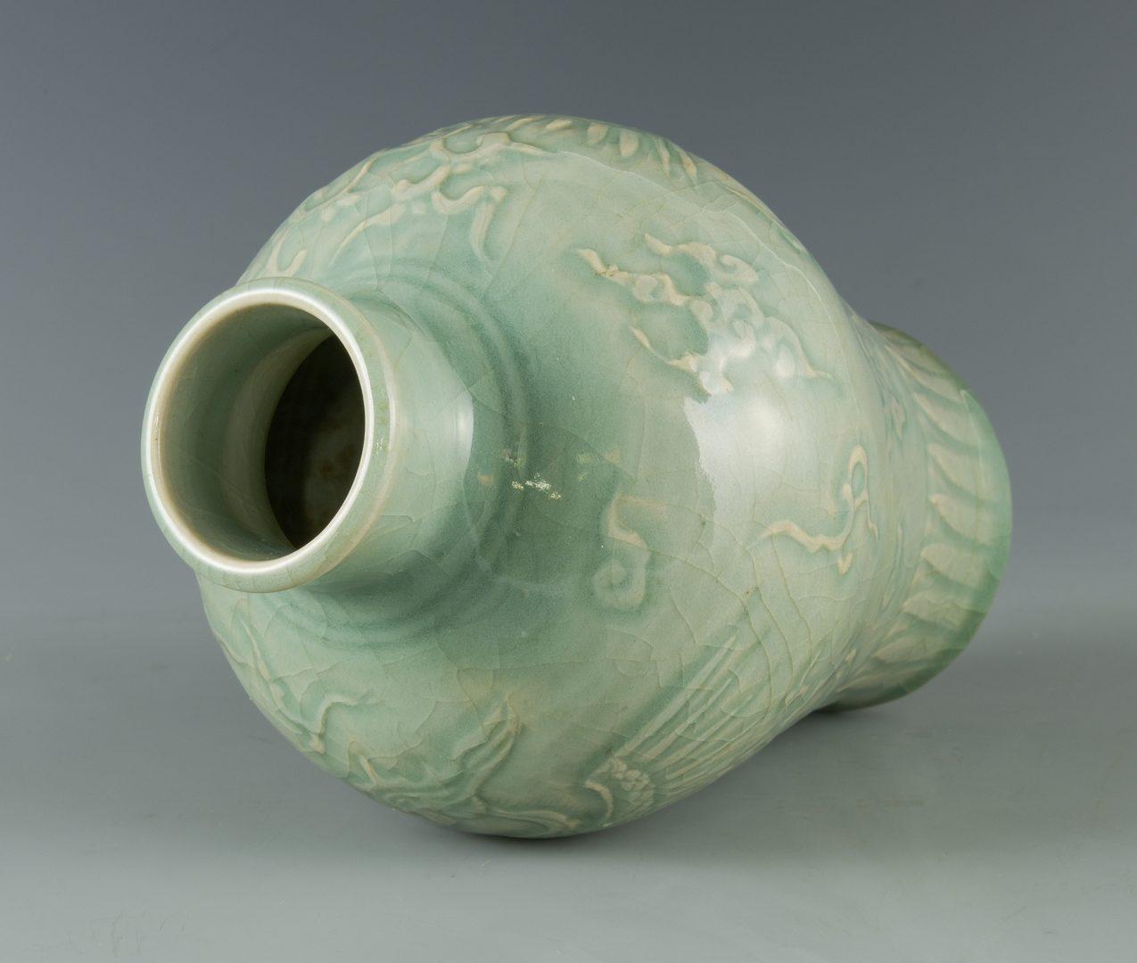 Lot 24: Longquan Celadon Carved Vase