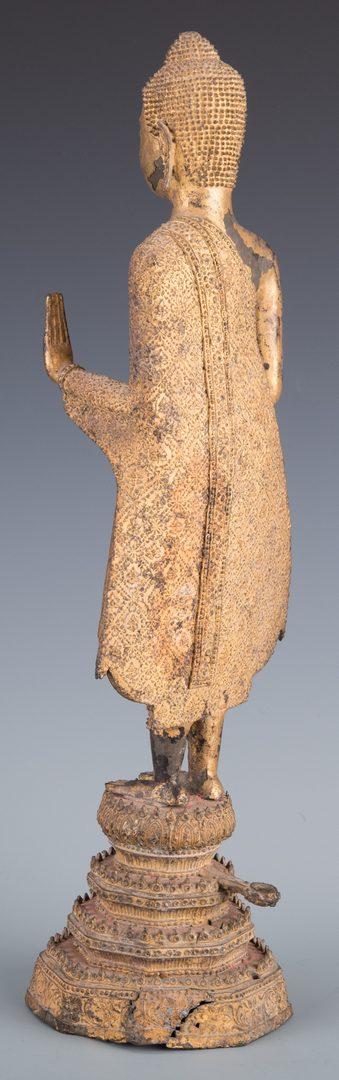 Lot 251: Gilt Bronze Buddha, double abhaya mudra