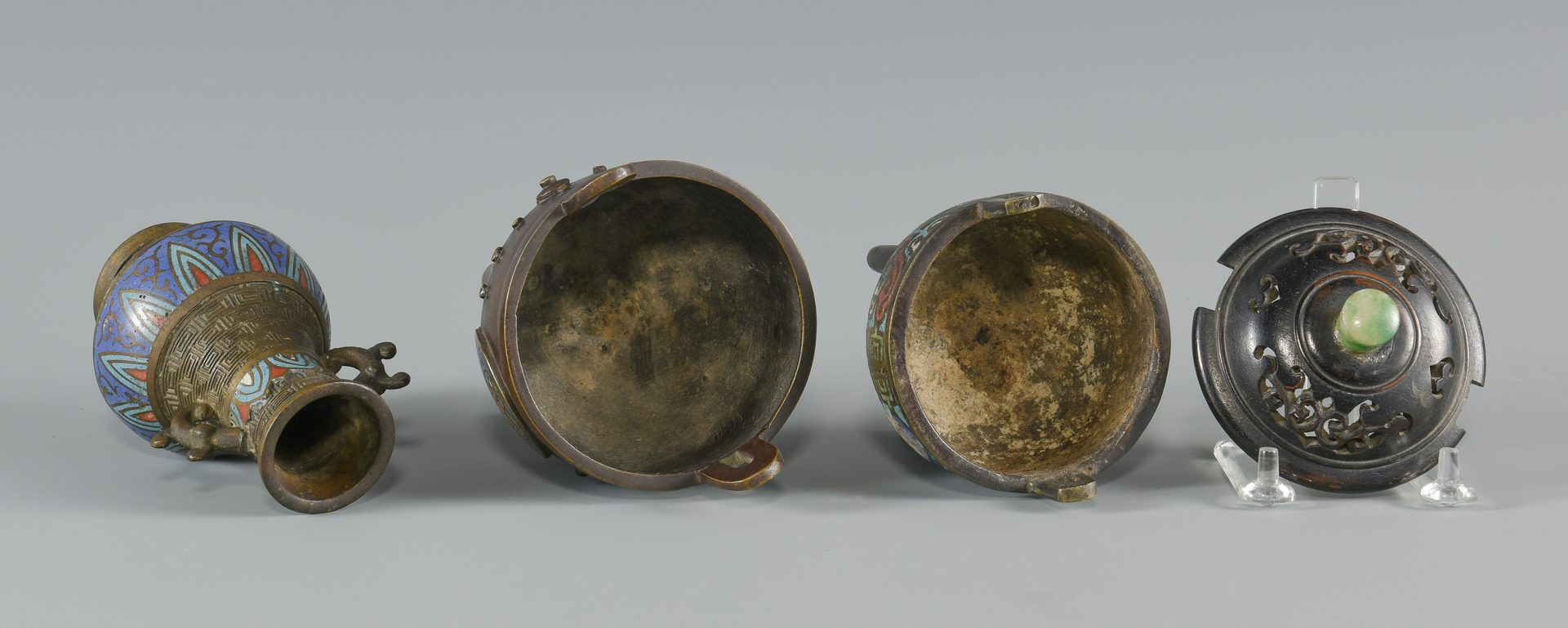 Lot 254: 3 Asian Bronze & Champleve Items