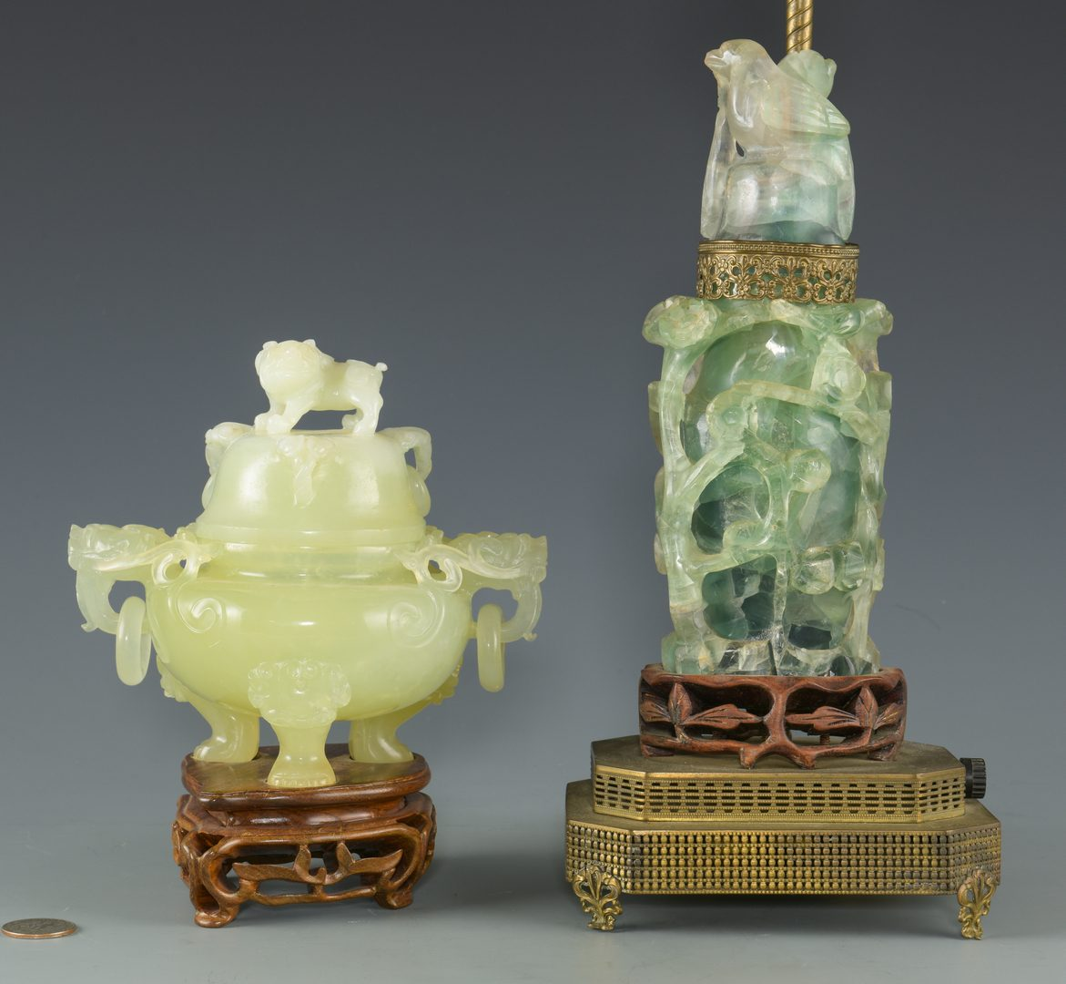Lot 255: Chinese Hardstone Lamp &  Censer