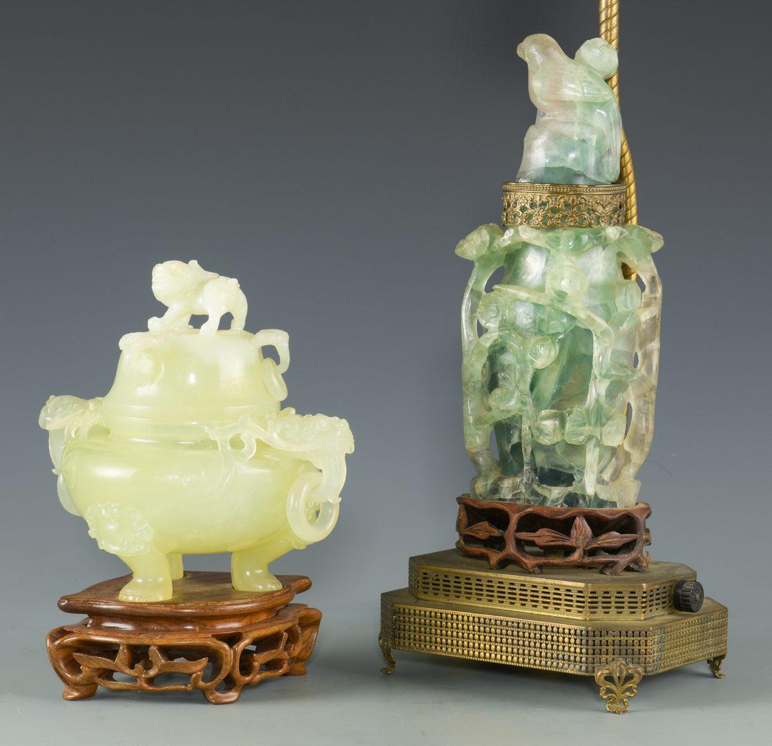 Lot 255: Chinese Hardstone Lamp &  Censer