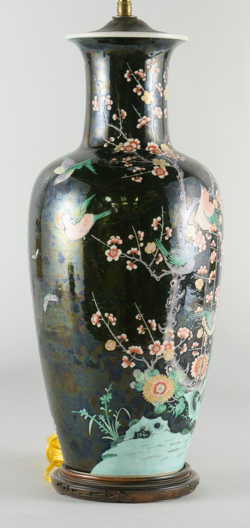 Lot 256: Chinese Famille Noir Lamp w/ Birds