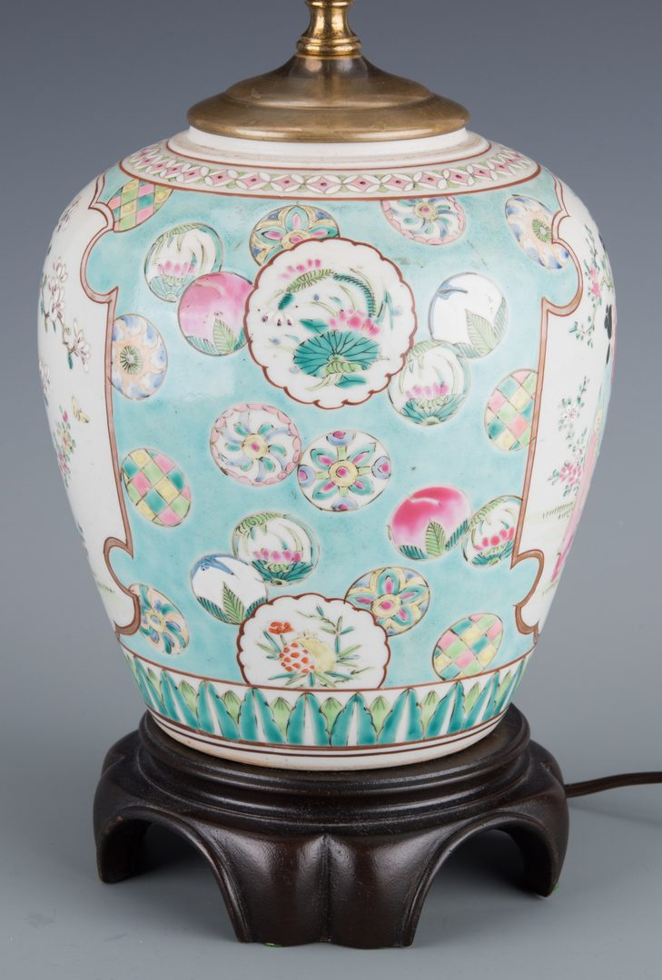 Lot 258: Pr. Chinese Republic  Hat Stands & Porcelain Lamp