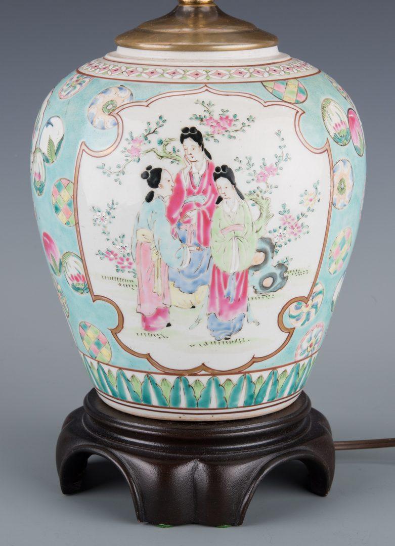 Lot 258: Pr. Chinese Republic  Hat Stands & Porcelain Lamp