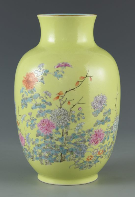 Lot 25: Chinese Porcelain Vase, Chrysanthemum Decoration