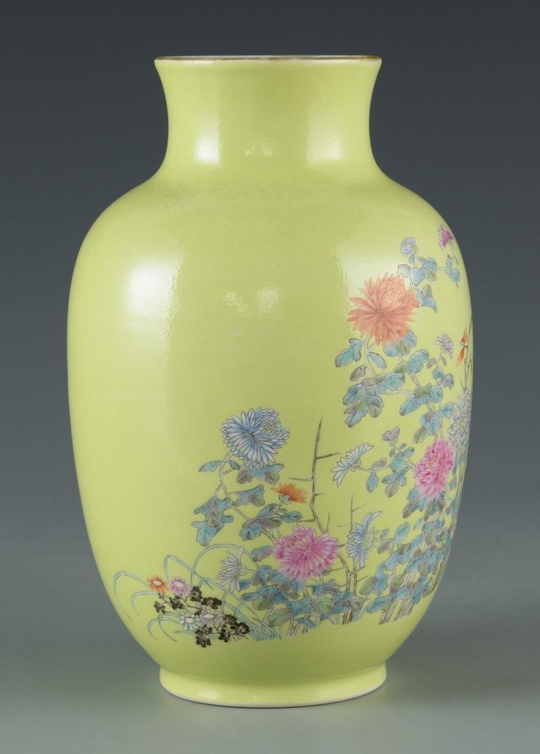 Lot 25: Chinese Porcelain Vase, Chrysanthemum Decoration