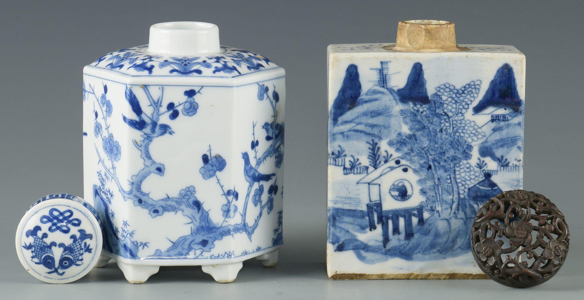 Lot 267: 2 Chinese Porcelain Tea Caddies & 2 Porcelain Jars