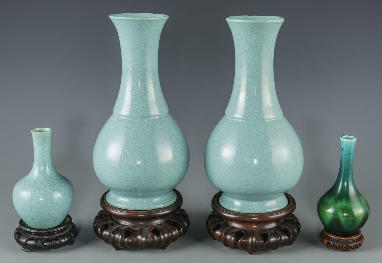 Lot 269: 4 Chinese Porcelain Bottle Vases w/ Stands