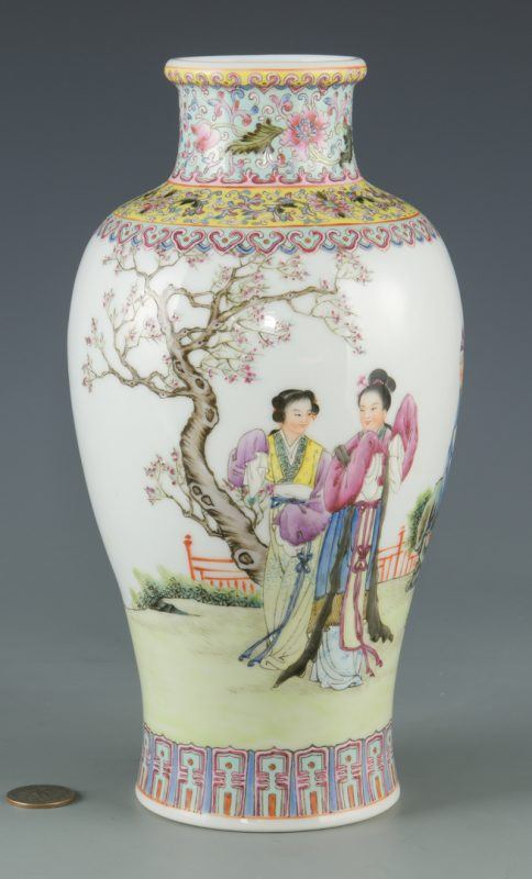 Lot 26: Famille Rose Rouleau Vase with Figural Decoration