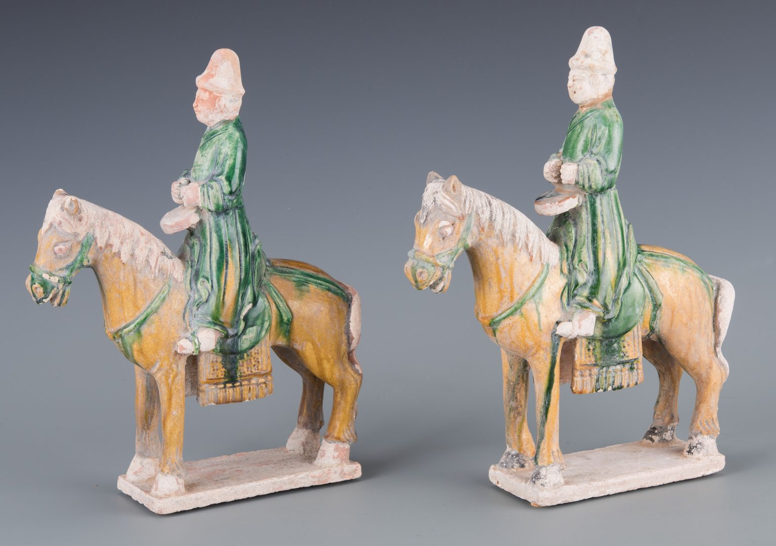 Lot 271: Pr. Chinese Ceramic Horse w/ Riders Figurines