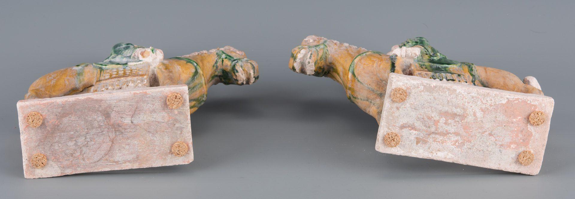 Lot 271: Pr. Chinese Ceramic Horse w/ Riders Figurines