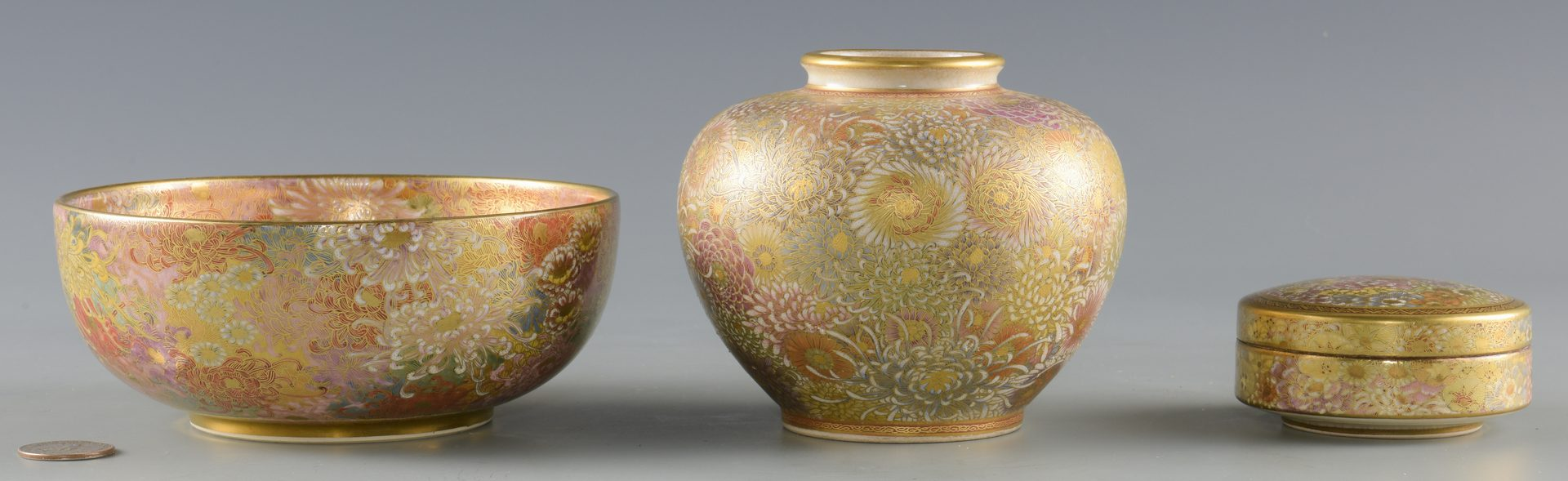 Lot 275: 3 Japanese Satsuma Porcelain Items