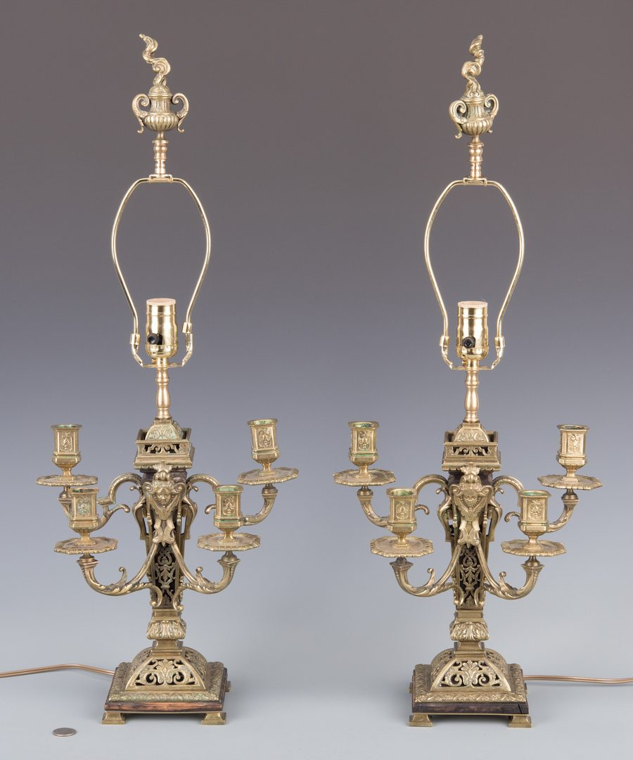 Lot 280: Pr. French Gilt Bronze Candelabra Lamps