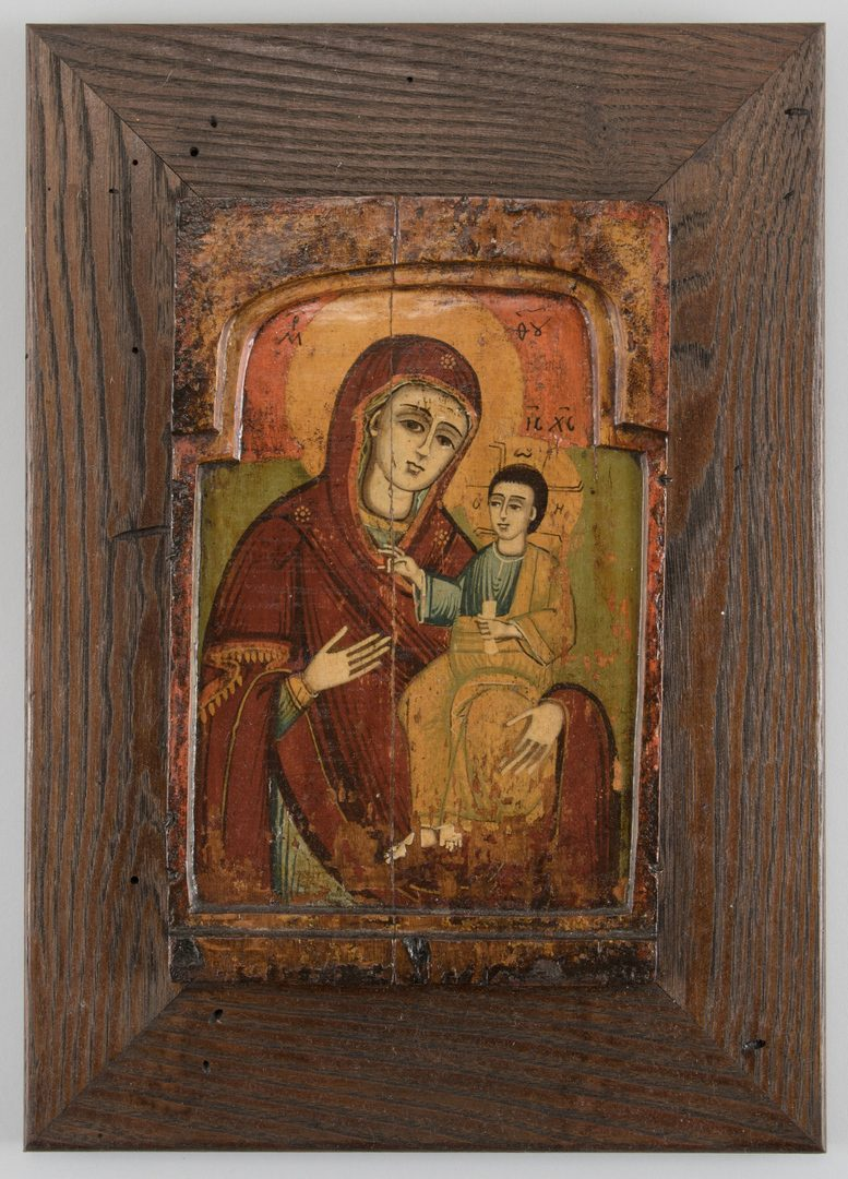 Lot 281: Early Greek Icon, Mother of God with wood