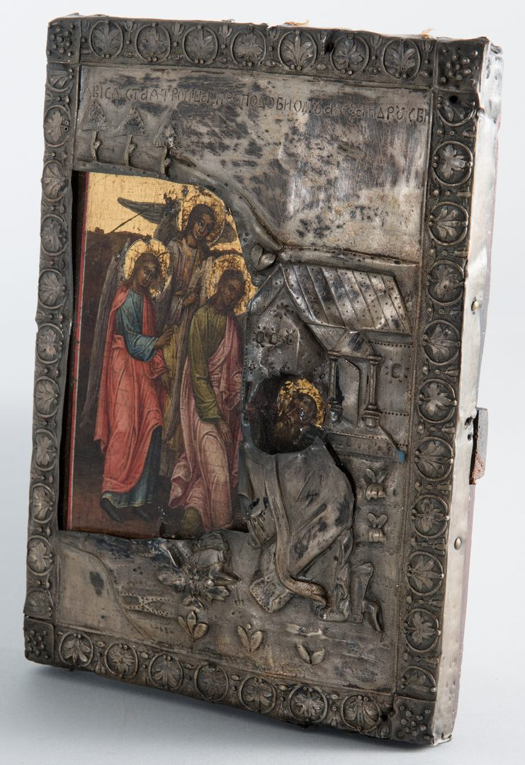 Lot 282: Russian Icon, Old Testament Trinity, Hallmarked