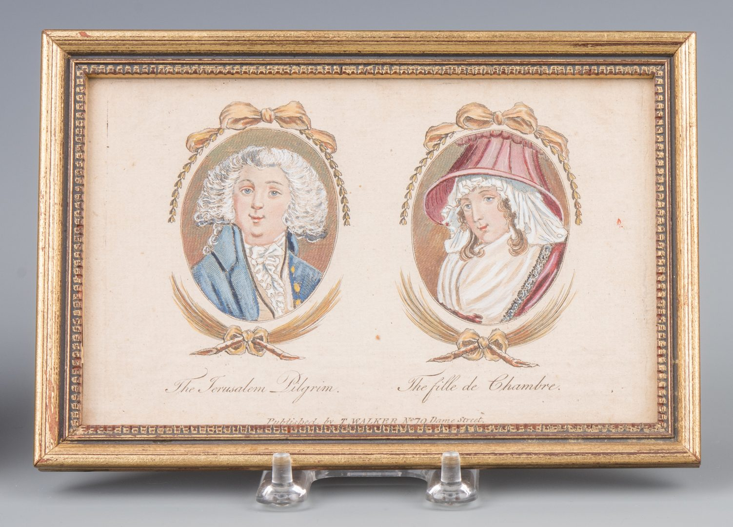 Lot 283: Pr. French Empire Style Tole Cachepots & Lithographic Portraits