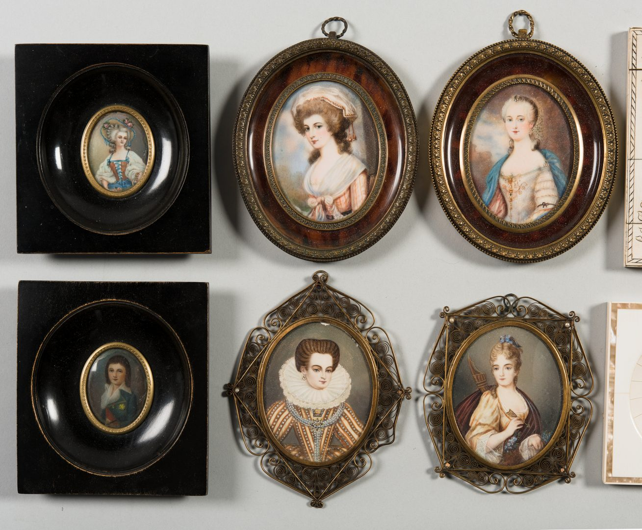 Lot 284: 10 Framed Portrait Miniatures