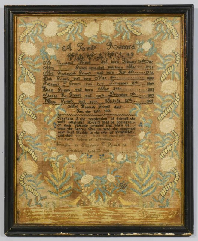 Lot 288: Mass. Genealogy & Mourning Sampler, 19th c.