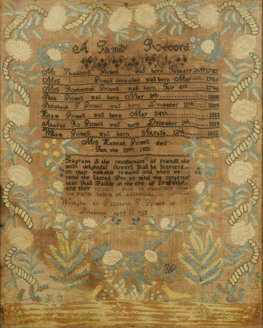 Lot 288: Mass. Genealogy & Mourning Sampler, 19th c.