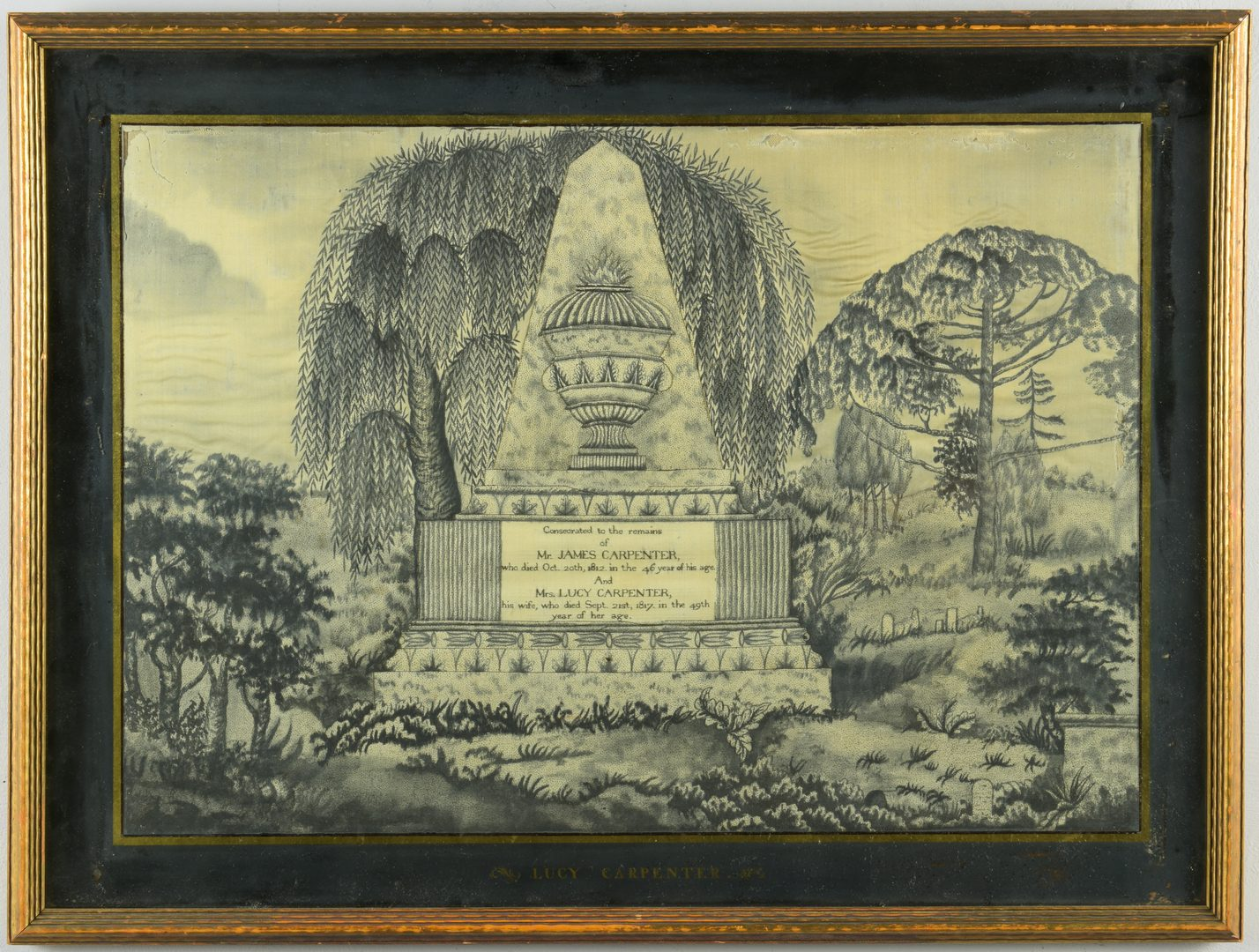 Lot 289: Mourning Needlework, Mary Balch School