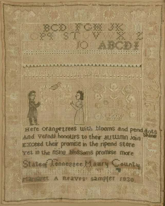 Lot 290: Rare Maury Co. TN Figural Sampler