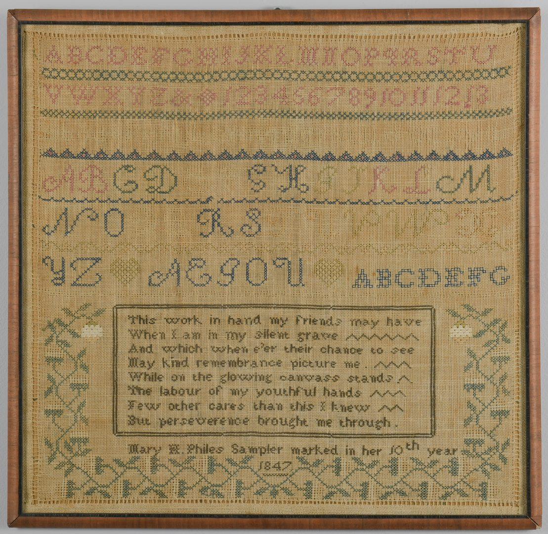 Lot 291: 2 Samplers incl. Virginia House Sampler