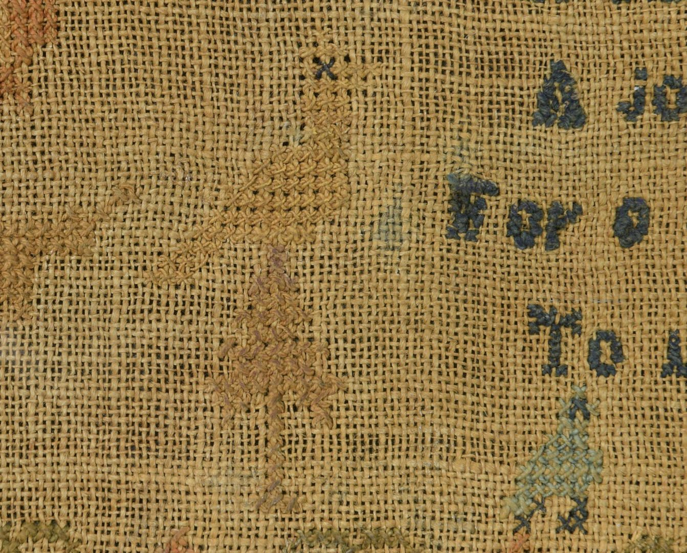 Lot 294: 1824 Needlework Sampler, attrib Kentucky