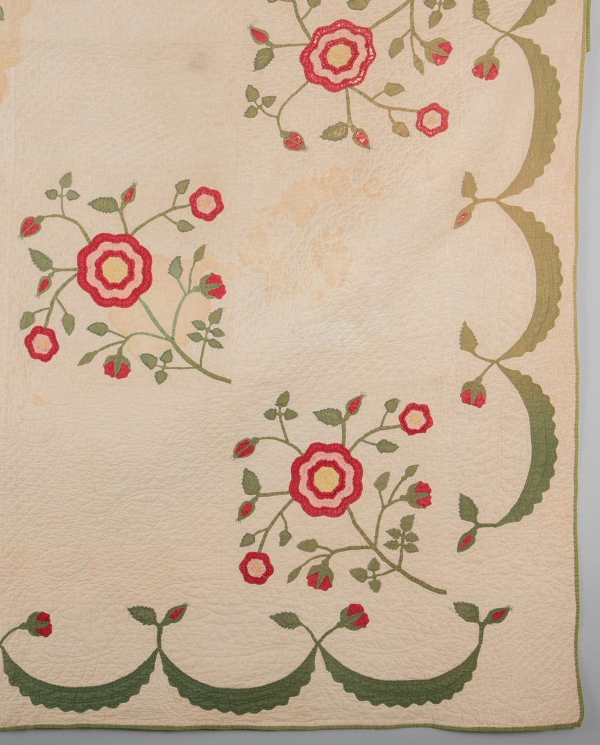 Lot 297: Southern Rose Quilt, 19th c.