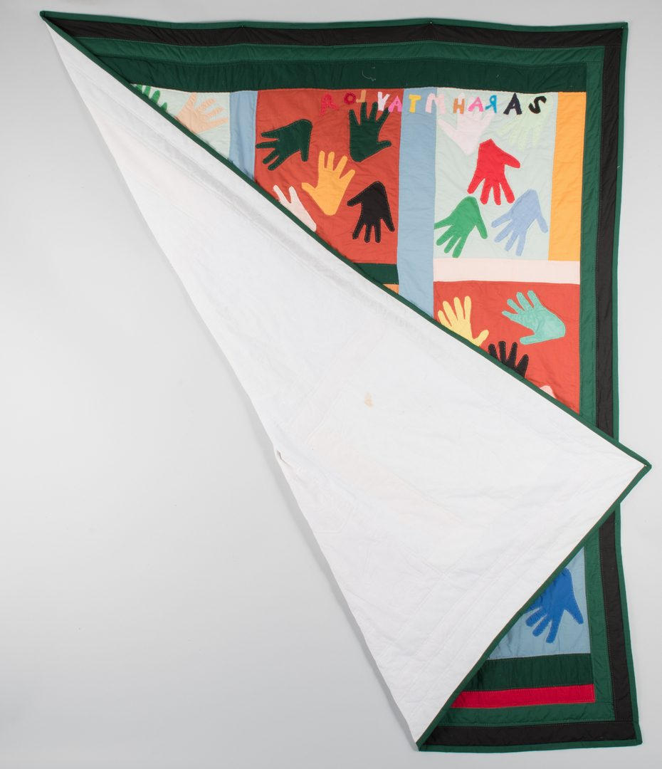 """Lot 298: Sarah Mary Taylor """"Hands"""" Quilt"""