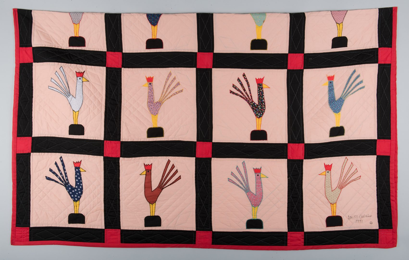 Lot 299: Garland and Minnie Adkins rooster quilt