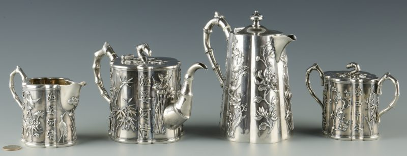 Lot 2: Chinese Export Silver Tea Set, 5 pcs, Wang Hing;