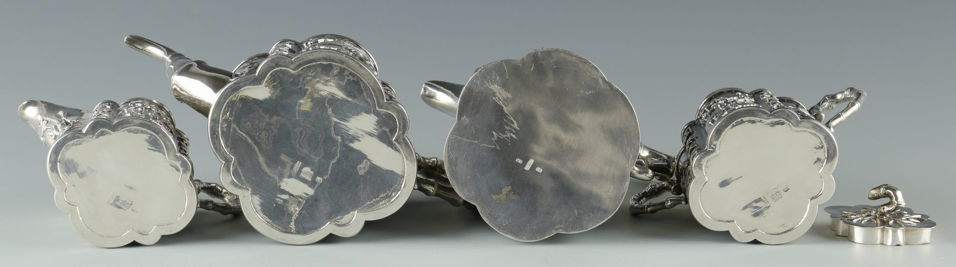 Lot 2: Chinese Export Silver Tea Set, 5 pcs, Wang Hing;