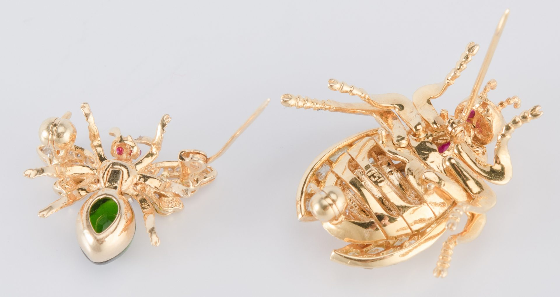 Lot 315: 2 Jeweled Beetle and Bee Pins