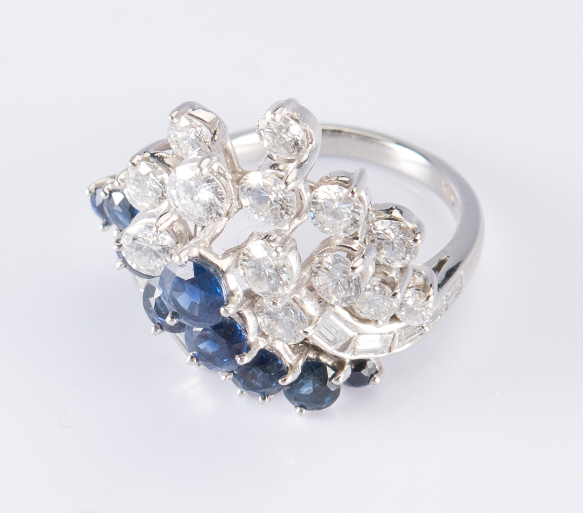 Lot 316: Platinum, Diamond, Sapphire Ring