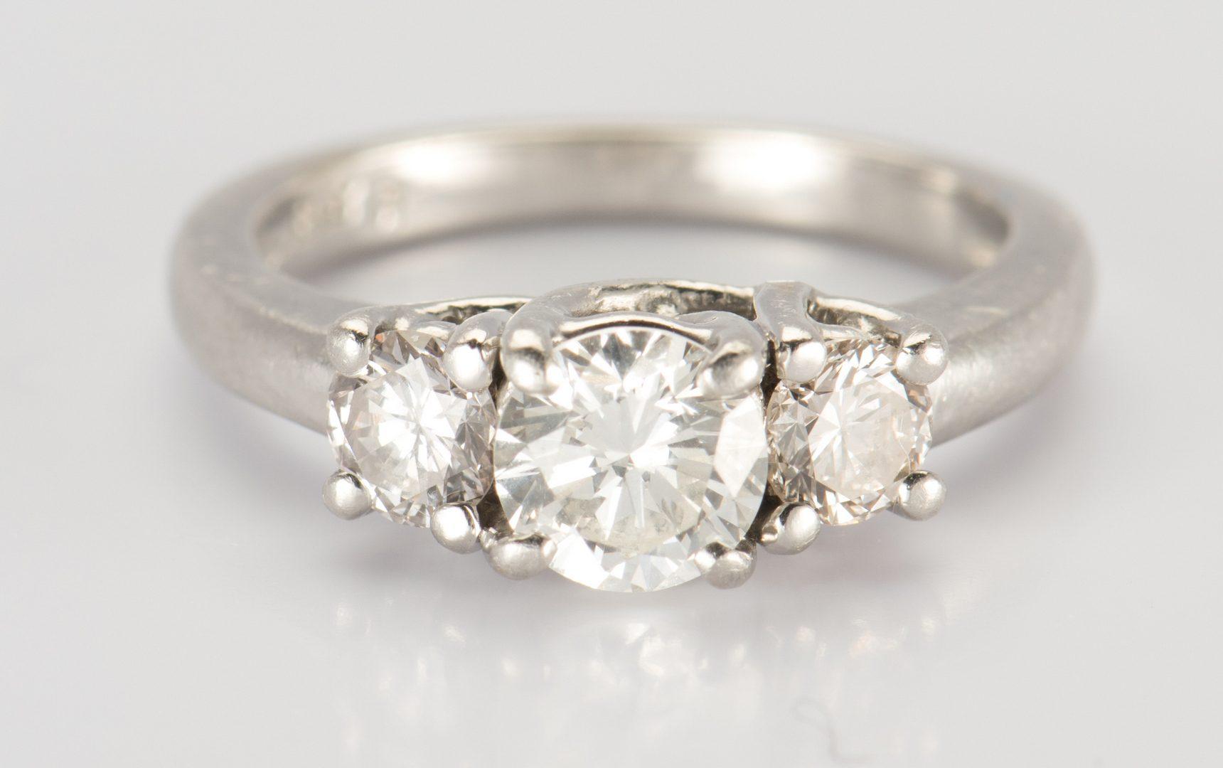 Lot 322: Platinum 3 stone Diamond Ring