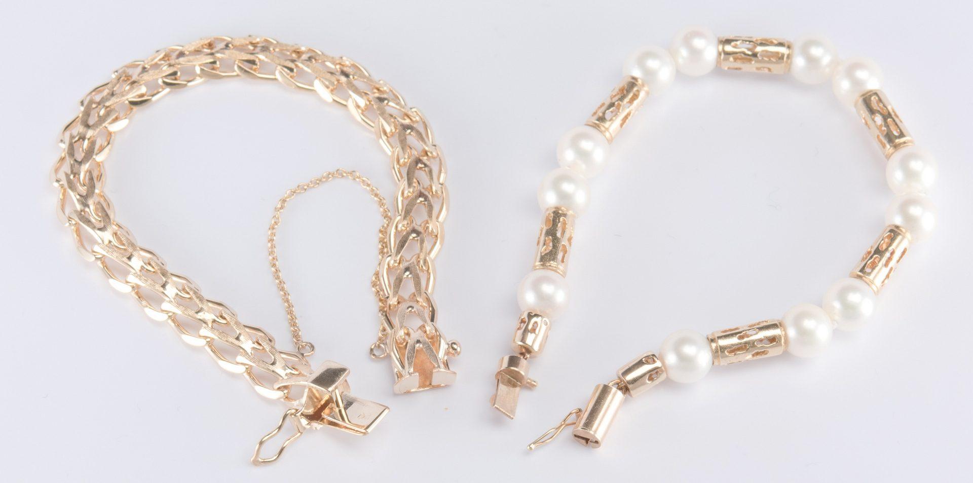 Lot 324: Two 14K Bracelets, 1 w/ pearls