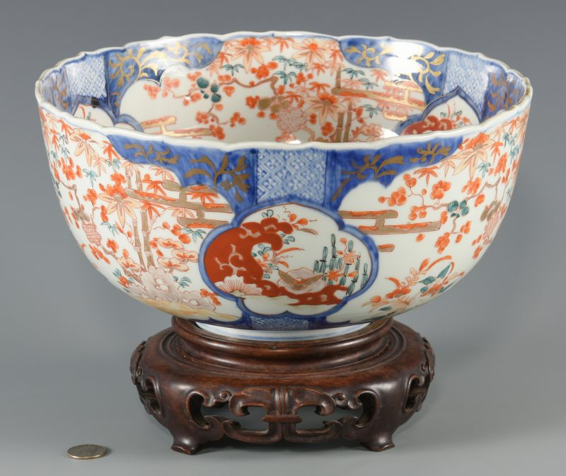Lot 32: Imari Porcelain Punch Bowl, 19th C.